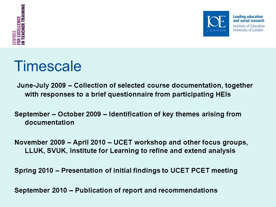 Questionnaire Returns Sent to all UCET HEIs in July Initial response was disappointing After autumn follow-up have received 18 responses One-third of the PCET sector (assuming 54 HEIs)