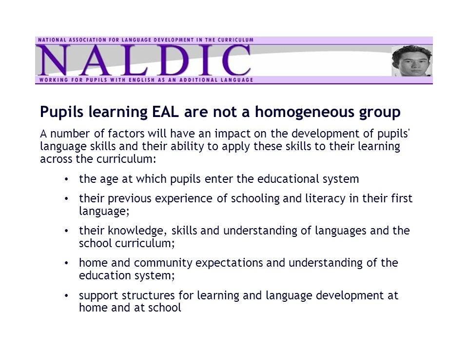Pupils learning EAL are not a homogeneous group A number of factors will have an impact on the development of pupils' language skills and their abilit