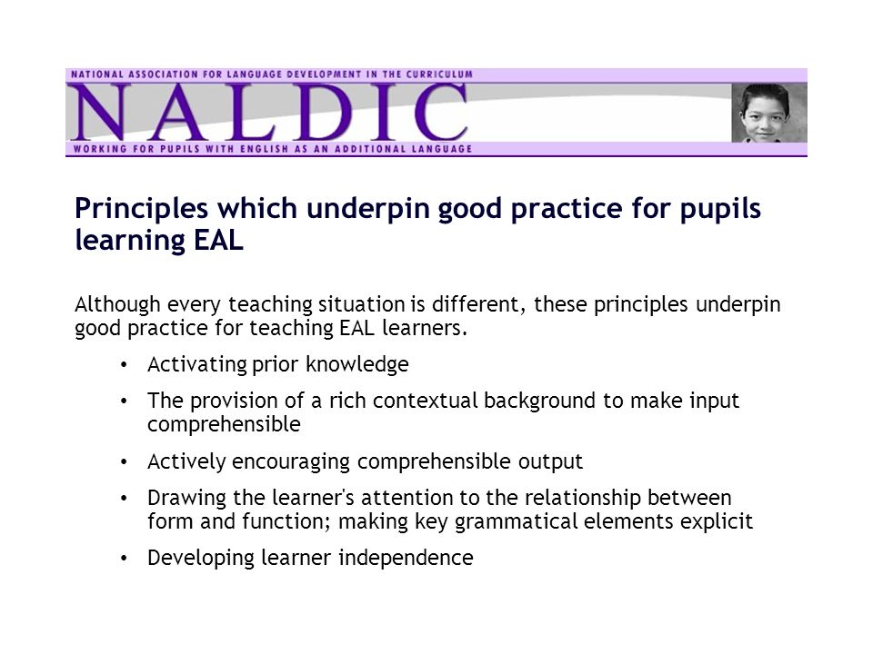 Principles which underpin good practice for pupils learning EAL Although every teaching situation is different, these principles underpin good practic