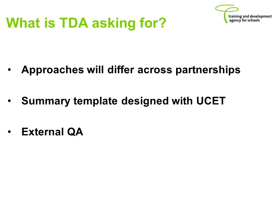 What is TDA asking for.