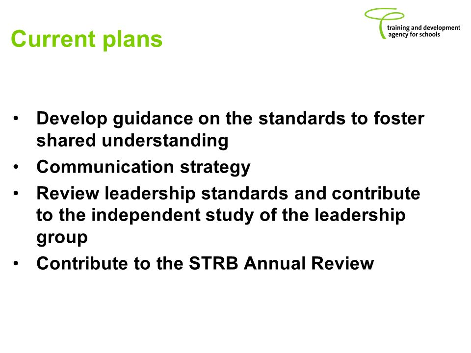 Current plans Develop guidance on the standards to foster shared understanding Communication strategy Review leadership standards and contribute to the independent study of the leadership group Contribute to the STRB Annual Review