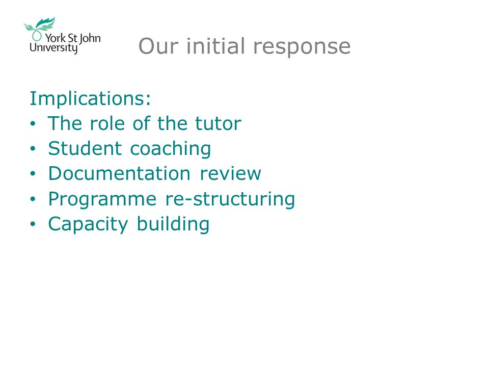 Our initial response Implications: The role of the tutor Student coaching Documentation review Programme re-structuring Capacity building