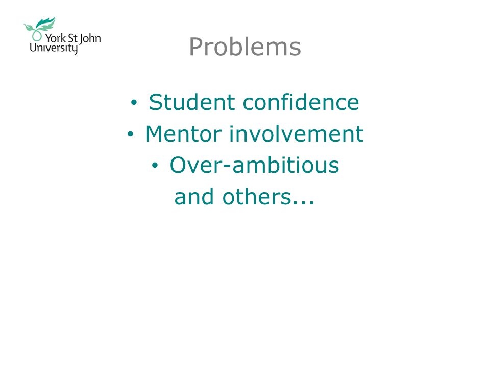 Problems Student confidence Mentor involvement Over-ambitious and others...