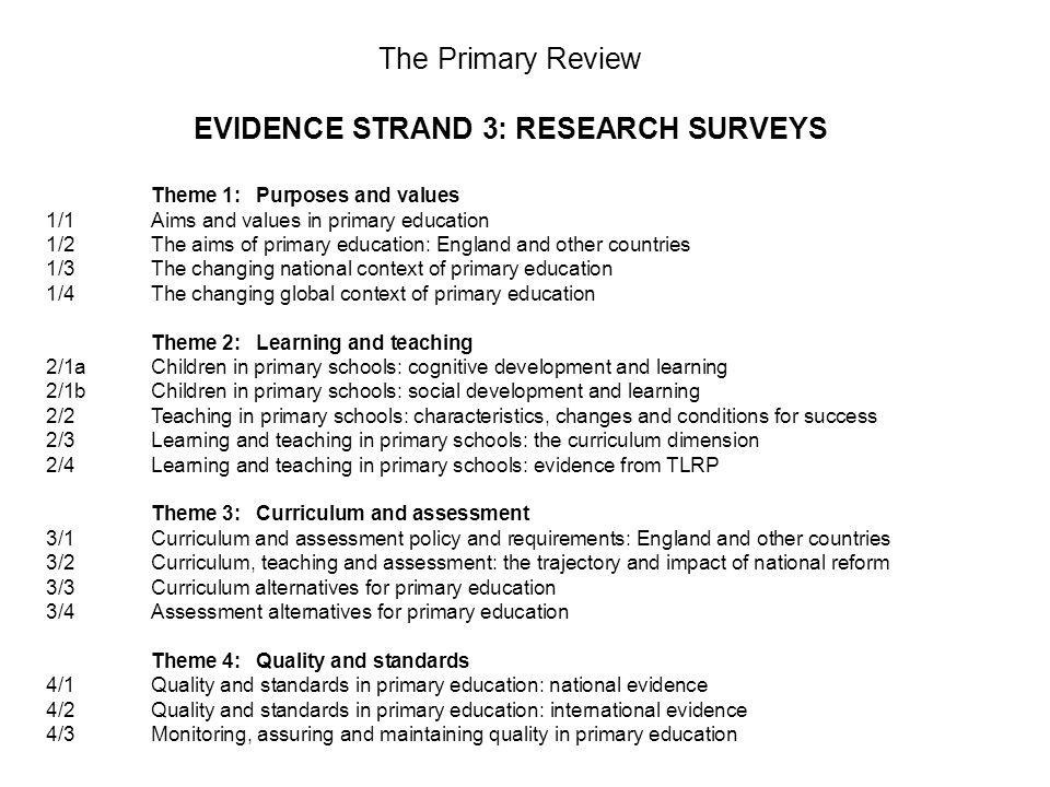 The Primary Review EVIDENCE STRAND 3: RESEARCH SURVEYS Theme 1:Purposes and values 1/1Aims and values in primary education 1/2The aims of primary education: England and other countries 1/3The changing national context of primary education 1/4The changing global context of primary education Theme 2:Learning and teaching 2/1aChildren in primary schools: cognitive development and learning 2/1bChildren in primary schools: social development and learning 2/2Teaching in primary schools: characteristics, changes and conditions for success 2/3Learning and teaching in primary schools: the curriculum dimension 2/4Learning and teaching in primary schools: evidence from TLRP Theme 3:Curriculum and assessment 3/1Curriculum and assessment policy and requirements: England and other countries 3/2Curriculum, teaching and assessment: the trajectory and impact of national reform 3/3Curriculum alternatives for primary education 3/4Assessment alternatives for primary education Theme 4:Quality and standards 4/1Quality and standards in primary education: national evidence 4/2Quality and standards in primary education: international evidence 4/3Monitoring, assuring and maintaining quality in primary education