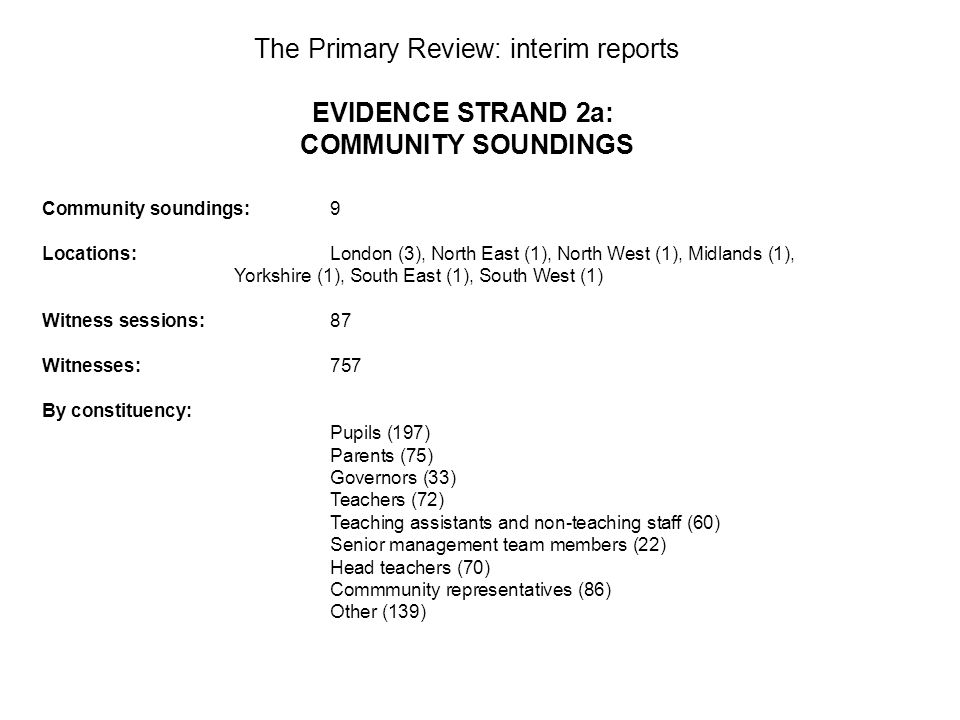 The Primary Review: interim reports EVIDENCE STRAND 2a: COMMUNITY SOUNDINGS Community soundings:9 Locations: London (3), North East (1), North West (1), Midlands (1), Yorkshire (1), South East (1), South West (1) Witness sessions:87 Witnesses:757 By constituency: Pupils (197) Parents (75) Governors (33) Teachers (72) Teaching assistants and non-teaching staff (60) Senior management team members (22) Head teachers (70) Commmunity representatives (86) Other (139)