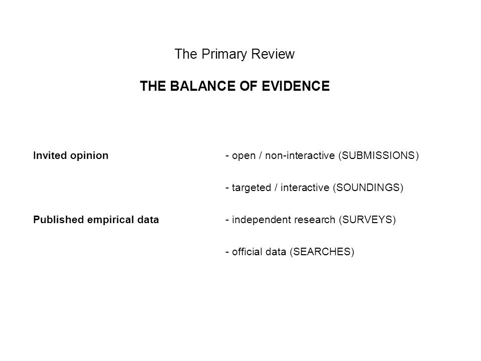 The Primary Review THE BALANCE OF EVIDENCE Invited opinion - open / non-interactive (SUBMISSIONS) - targeted / interactive (SOUNDINGS) Published empirical data- independent research (SURVEYS) - official data (SEARCHES)