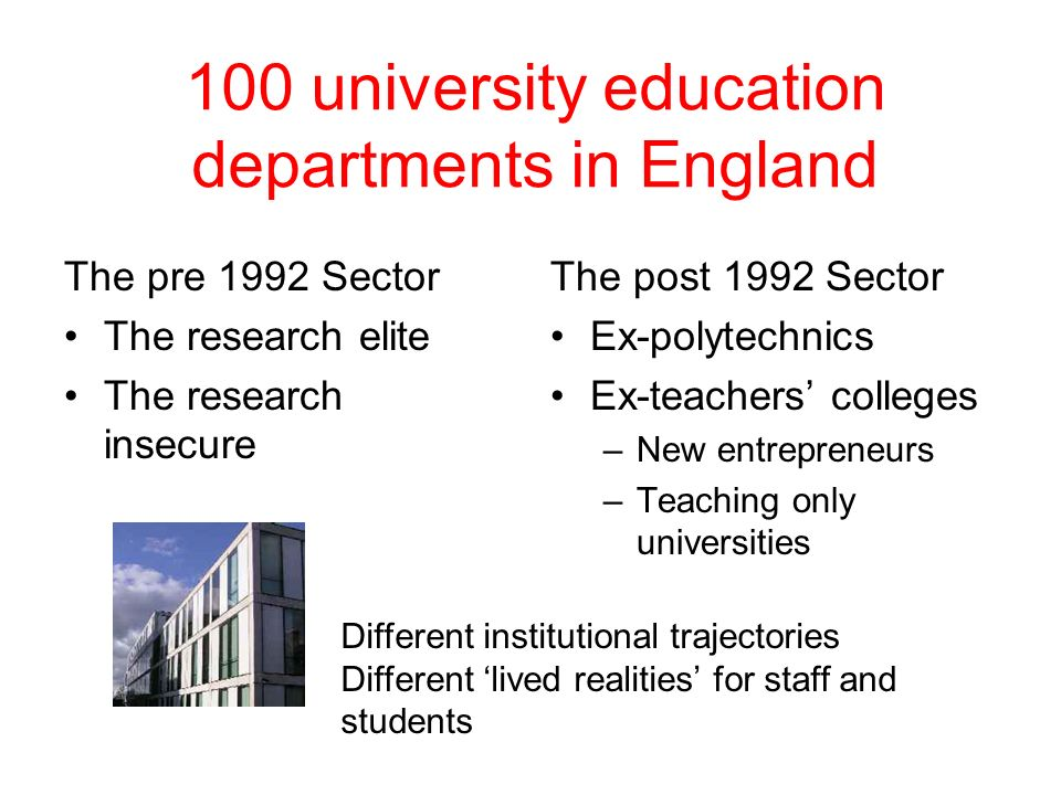100 university education departments in England The pre 1992 Sector The research elite The research insecure The post 1992 Sector Ex-polytechnics Ex-t