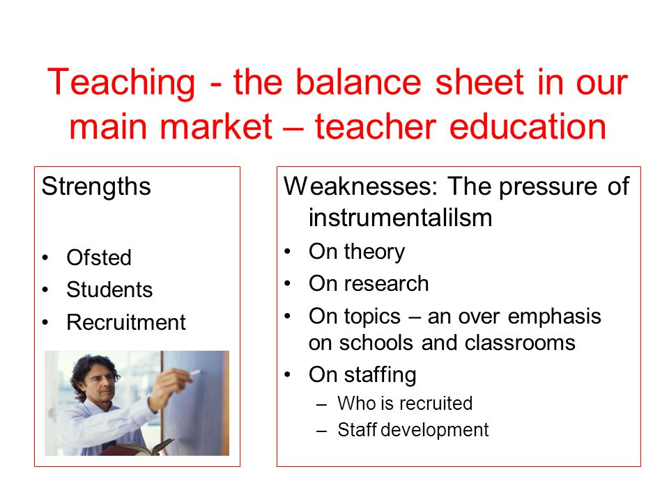 Teaching - the balance sheet in our main market – teacher education Strengths Ofsted Students Recruitment Weaknesses: The pressure of instrumentalilsm