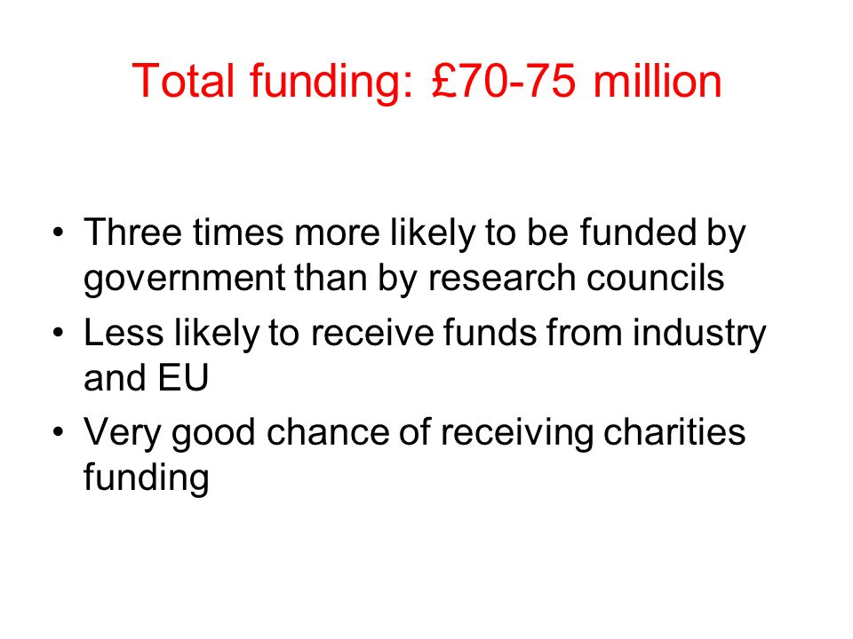 Total funding: £70-75 million Three times more likely to be funded by government than by research councils Less likely to receive funds from industry