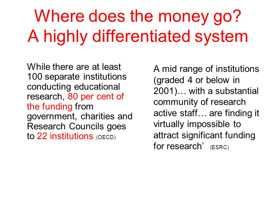 Where does the money go? A highly differentiated system While there are at least 100 separate institutions conducting educational research, 80 per cen