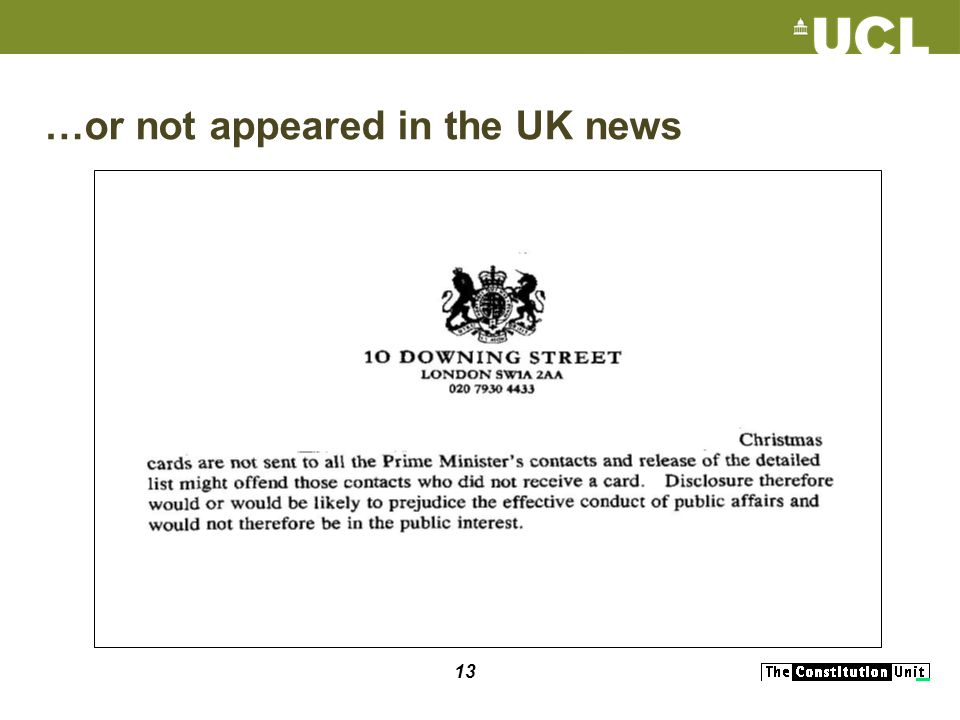 13 …or not appeared in the UK news