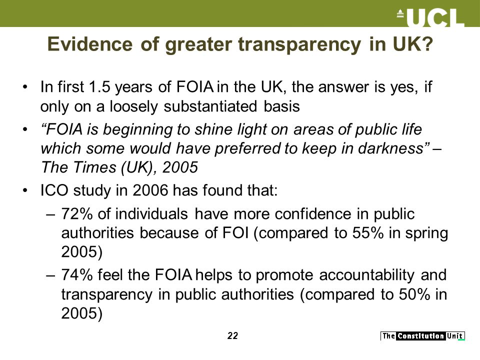 22 Evidence of greater transparency in UK.
