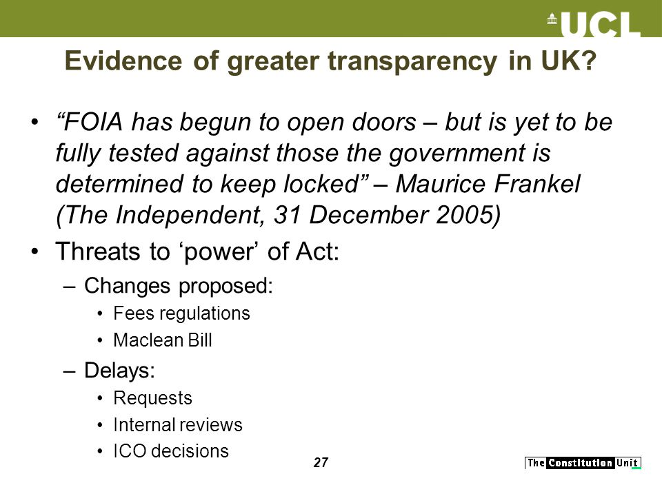 27 Evidence of greater transparency in UK.