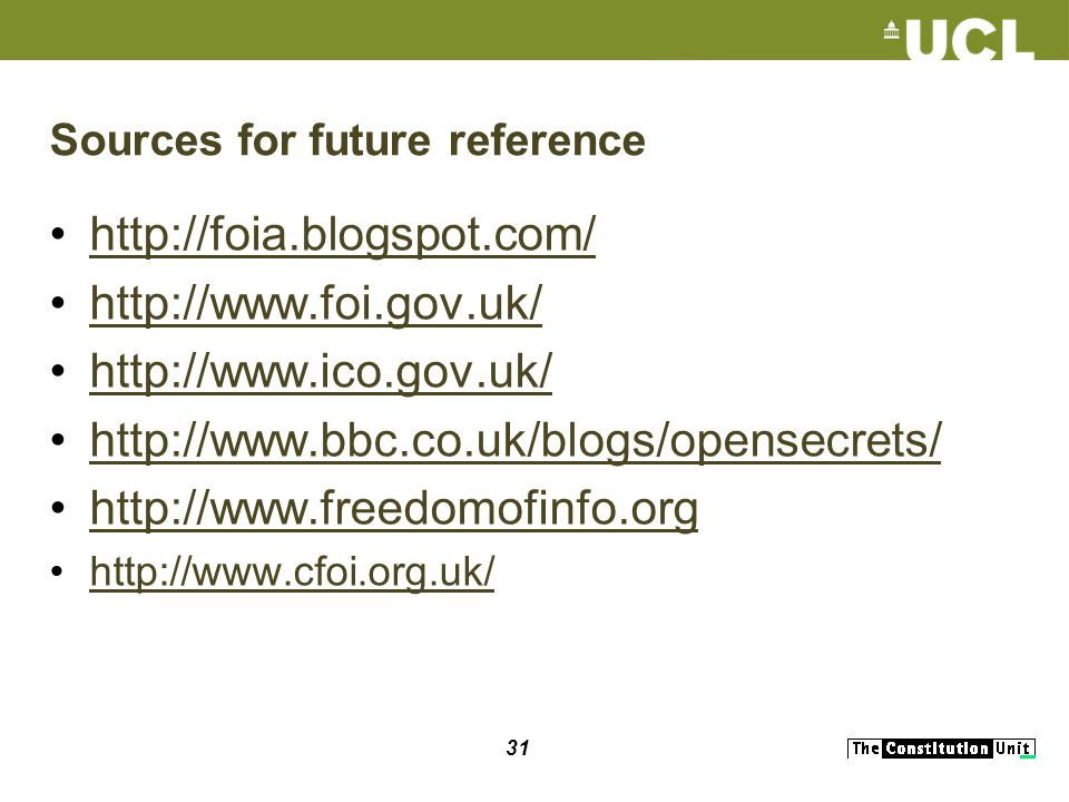 31 Sources for future reference