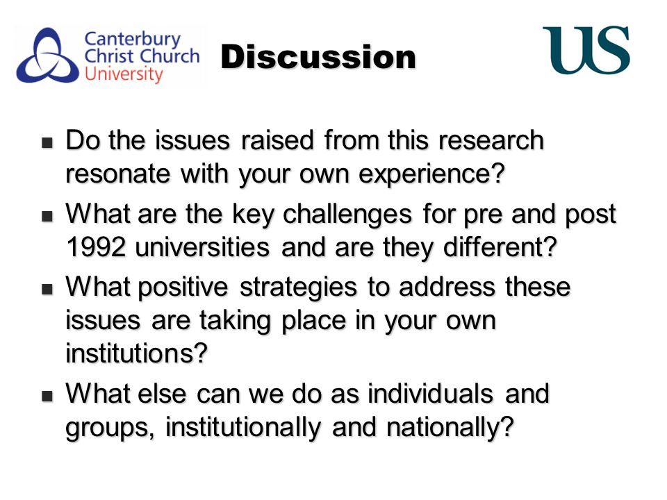 Discussion Do the issues raised from this research resonate with your own experience.