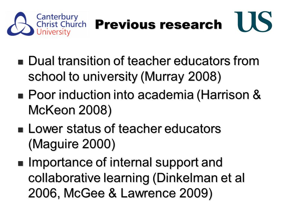 Previous research Dual transition of teacher educators from school to university (Murray 2008) Dual transition of teacher educators from school to university (Murray 2008) Poor induction into academia (Harrison & McKeon 2008) Poor induction into academia (Harrison & McKeon 2008) Lower status of teacher educators (Maguire 2000) Lower status of teacher educators (Maguire 2000) Importance of internal support and collaborative learning (Dinkelman et al 2006, McGee & Lawrence 2009) Importance of internal support and collaborative learning (Dinkelman et al 2006, McGee & Lawrence 2009)