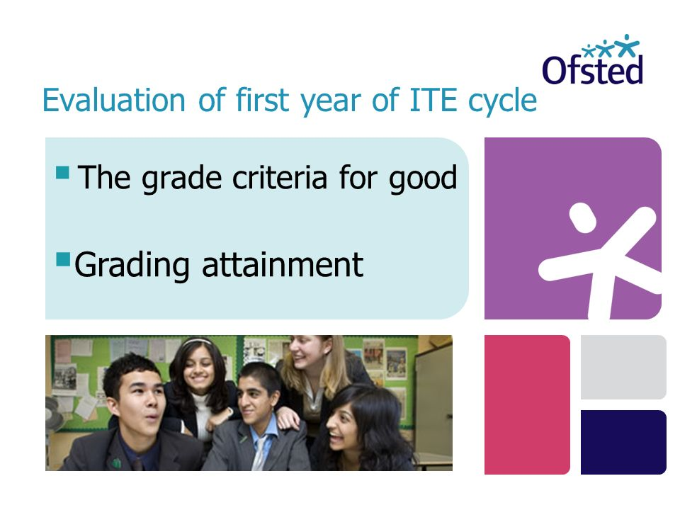 The grade criteria for good Evaluation of first year of ITE cycle Grading attainment