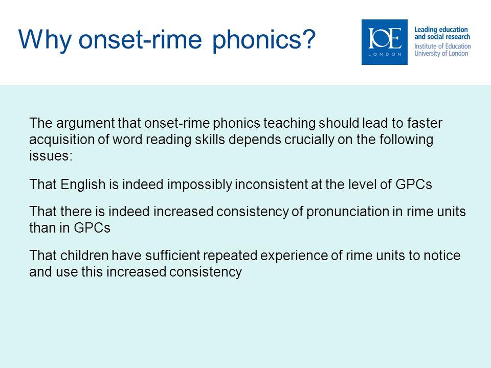 Why onset-rime phonics.