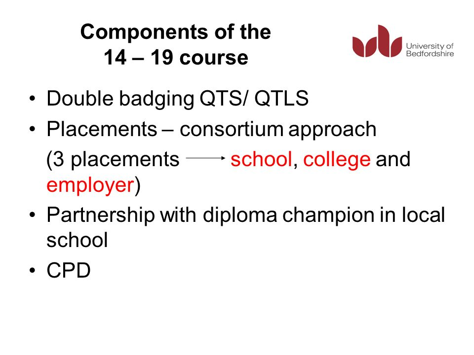 Components of the 14 – 19 course Double badging QTS/ QTLS Placements – consortium approach (3 placements school, college and employer) Partnership wit