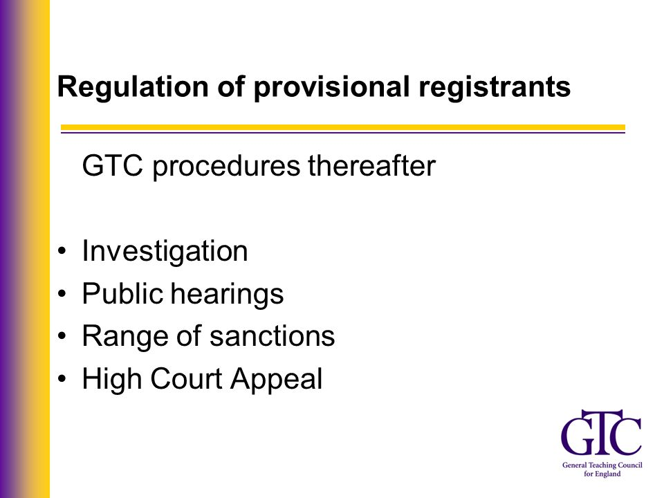 Regulation of provisional registrants Seriousness Relevance