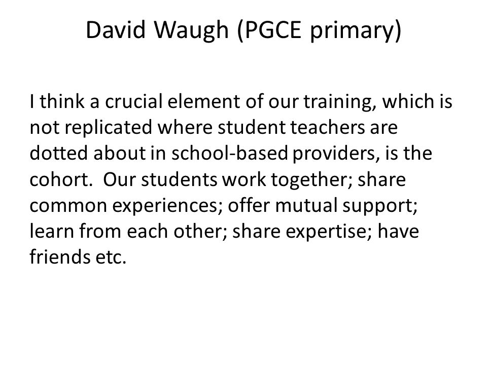 David Waugh (PGCE primary) I think a crucial element of our training, which is not replicated where student teachers are dotted about in school-based providers, is the cohort.