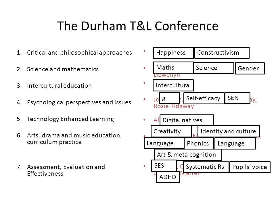 The Durham T&L Conference 1.Critical and philosophical approaches 2.Science and mathematics 3.Intercultural education 4.Psychological perspectives and issues 5.Technology Enhanced Learning 6.Arts, drama and music education, curriculum practice 7.Assessment, Evaluation and Effectiveness Richard Smith, Andrew Davies Lynn Newton, Ros Roberts, Anna Llewellyn Prue Holmes Joe Elliott, Julie Rattray, Jim Ridgway, Rosie Ridgway Alan Walker-Gleaves Sophie Ward, Martin Richardson, Don Salter, David Waugh, Karen Lowing, Helen Burns Rob Coe, Carole Torgerson, Kate Wall, Christine Merrell HappinessConstructivism Maths Science Gender Intercultural g Self-efficacy SEN Digital natives CreativityIdentity and culture Language Phonics Language Art & meta cognition SES Systematic Rs Pupils voice ADHD