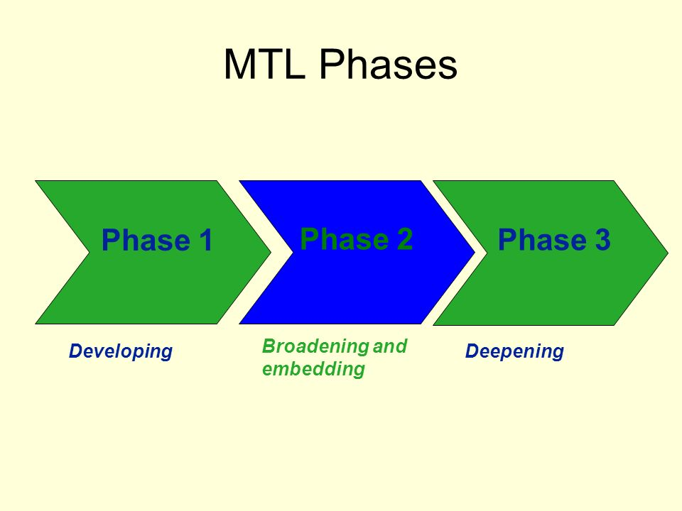 MTL Phases Phase 1 Phase 2 Phase 3 Developing Broadening and embedding Deepening