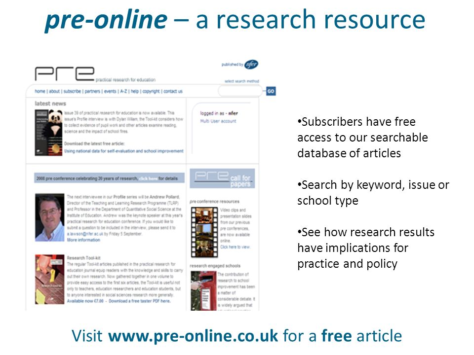 pre-online – a research resource Visit www.pre-online.co.uk for a free article Subscribers have free access to our searchable database of articles Sea