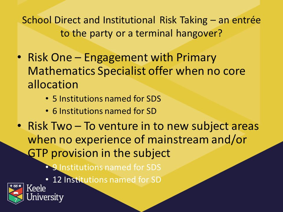 School Direct and Institutional Risk Taking – an entrée to the party or a terminal hangover.