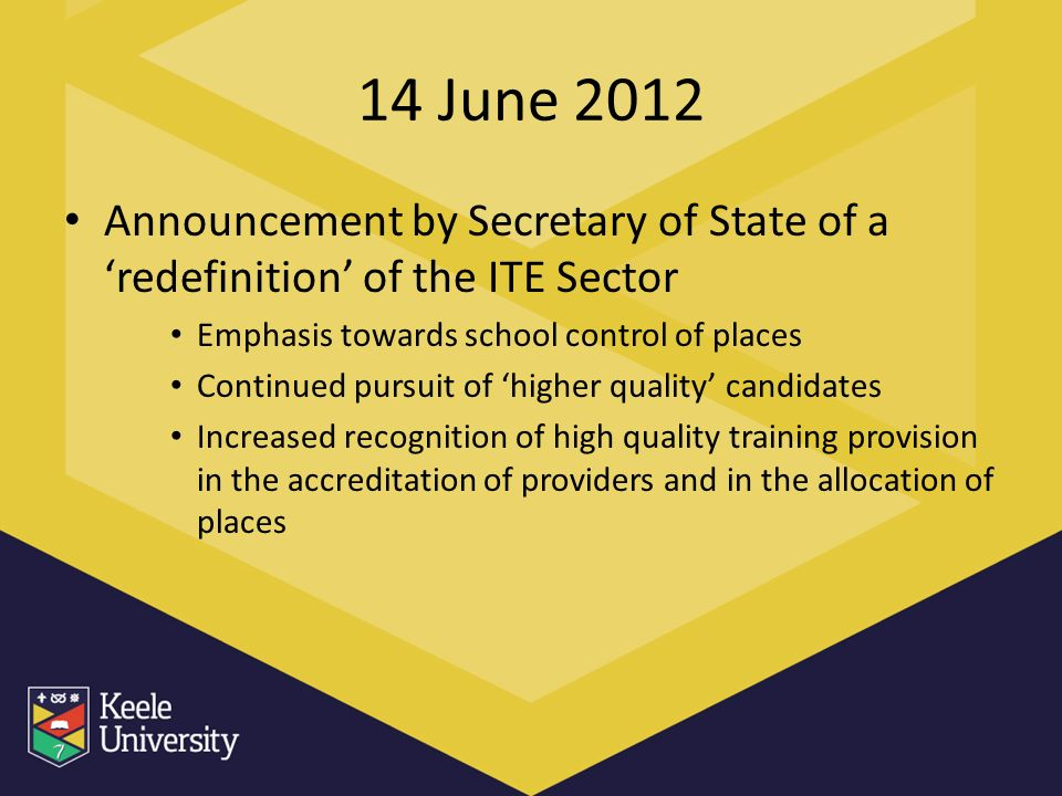 14 June 2012 Announcement by Secretary of State of a redefinition of the ITE Sector Emphasis towards school control of places Continued pursuit of hig
