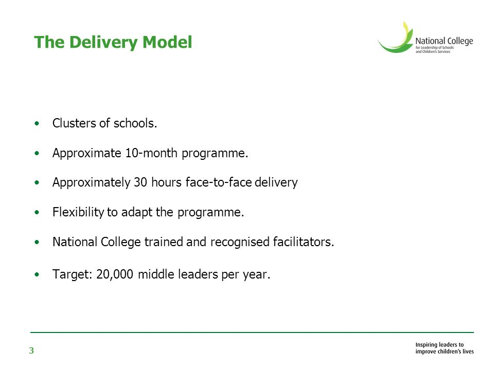 3 The Delivery Model Clusters of schools. Approximate 10-month programme.