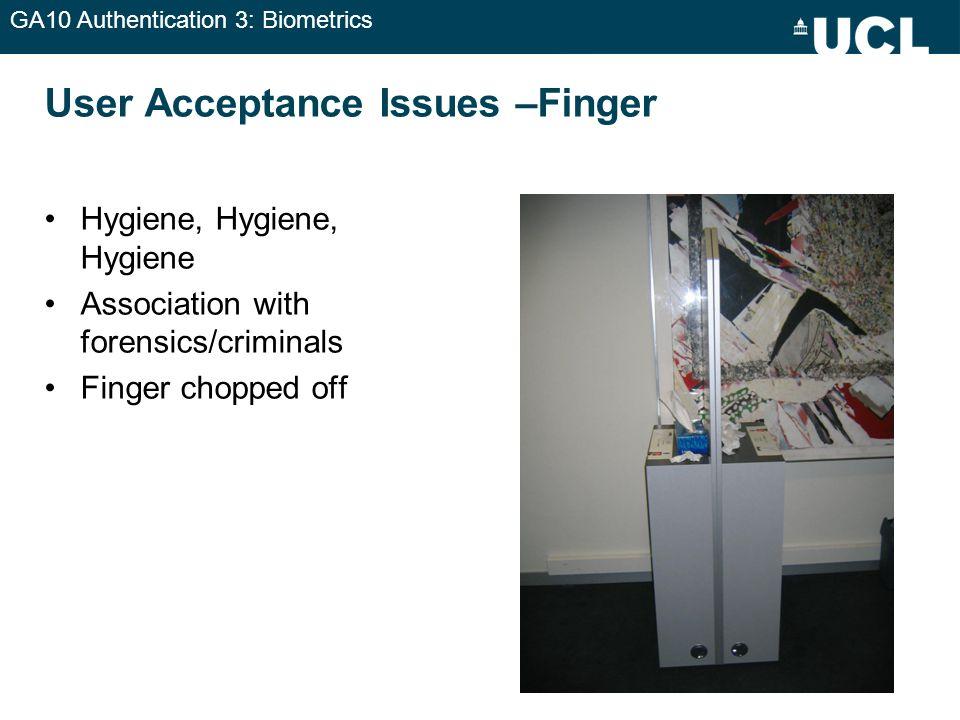 GA10 Authentication 3: Biometrics User Acceptance Issues –Finger Hygiene, Hygiene, Hygiene Association with forensics/criminals Finger chopped off