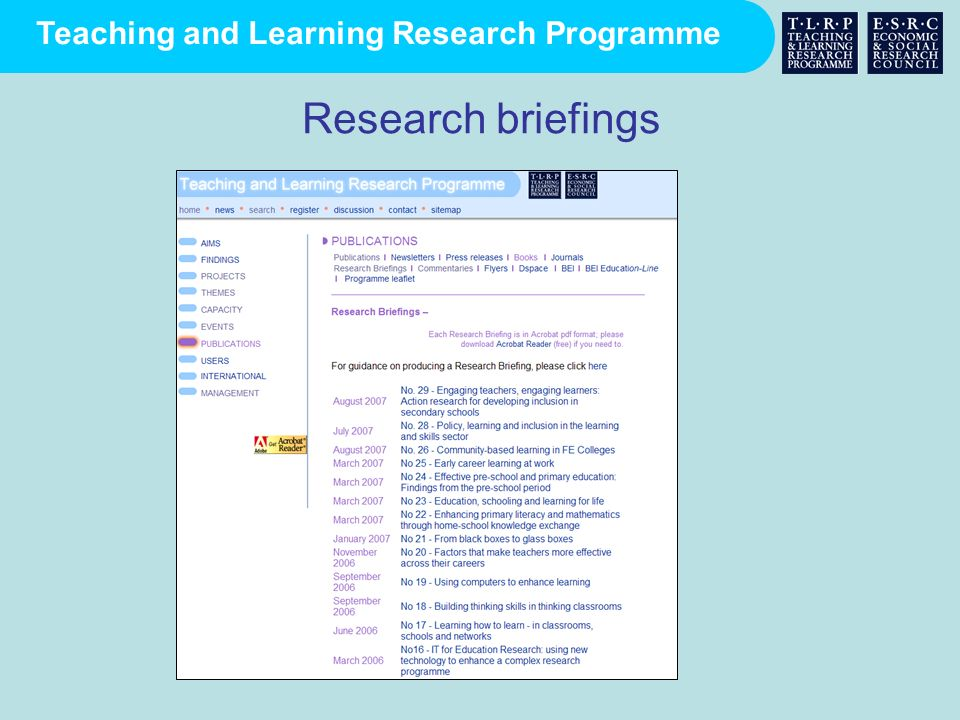Teaching and Learning Research Programme Research briefings