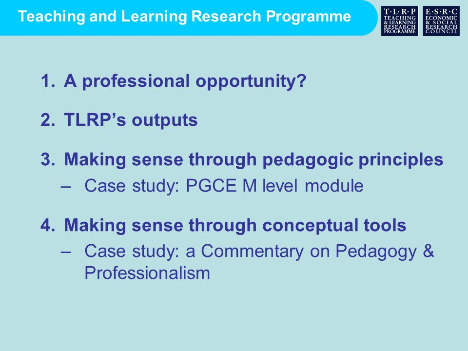 Teaching and Learning Research Programme 1.A professional opportunity? 2.TLRPs outputs 3.Making sense through pedagogic principles –Case study: PGCE M
