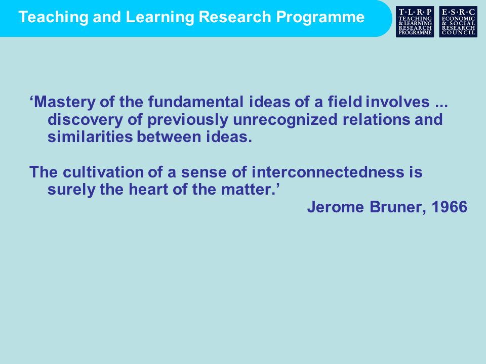 Teaching and Learning Research Programme Mastery of the fundamental ideas of a field involves... discovery of previously unrecognized relations and si