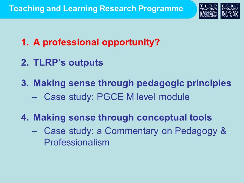 Teaching and Learning Research Programme affirms a holistic approach to teaching and learning or pedagogy represents cumulative evidence and experience supports contextualised judgement by teachers, tutors, practitioners and policy-makers Why evidence-informed principles?
