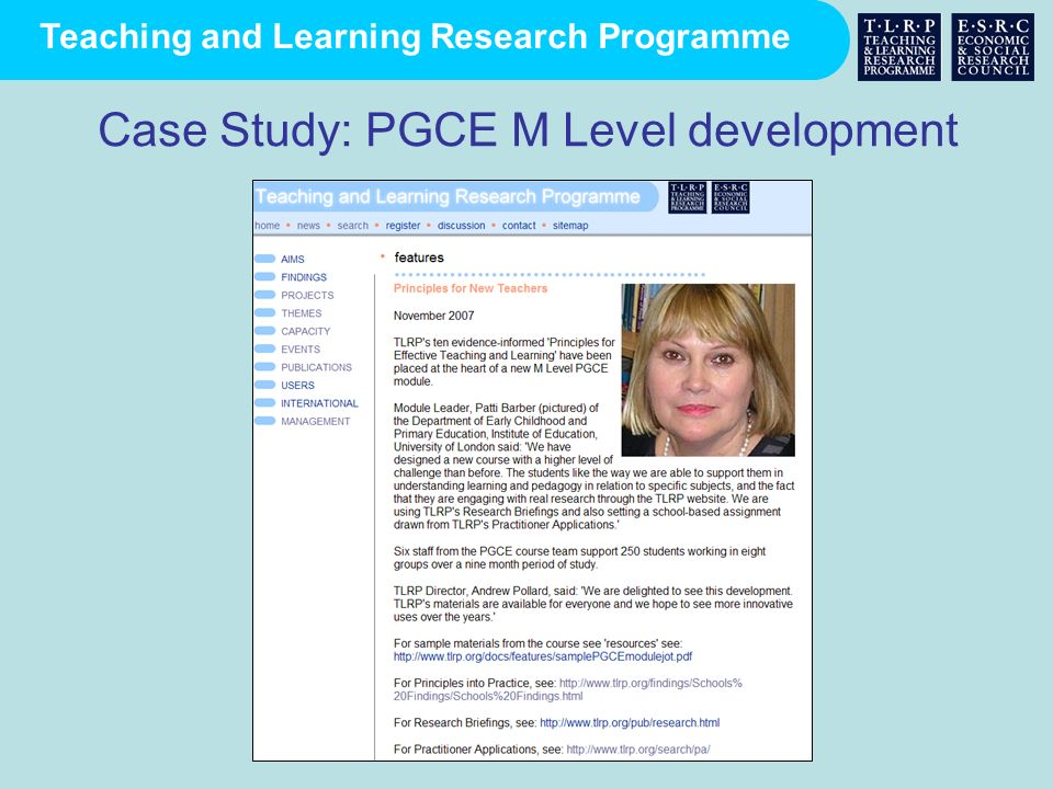 Teaching and Learning Research Programme Case Study: PGCE M Level development
