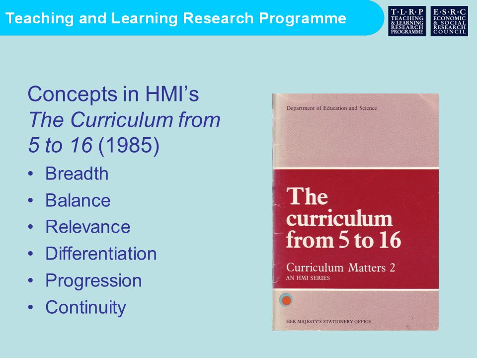Concepts in HMIs The Curriculum from 5 to 16 (1985) Breadth Balance Relevance Differentiation Progression Continuity
