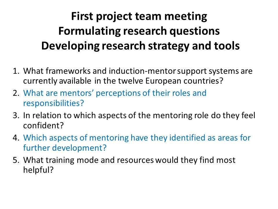 First project team meeting Formulating research questions Developing research strategy and tools 1.What frameworks and induction-mentor support systems are currently available in the twelve European countries.