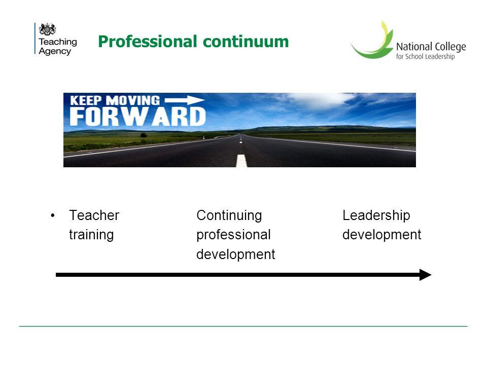 Professional continuum Teacher Continuing Leadership training professional development development
