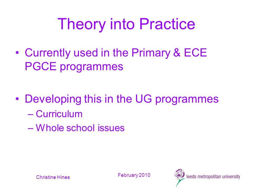 February 2010 Christine Hines Theory into Practice Currently used in the Primary & ECE PGCE programmes Developing this in the UG programmes –Curriculum –Whole school issues
