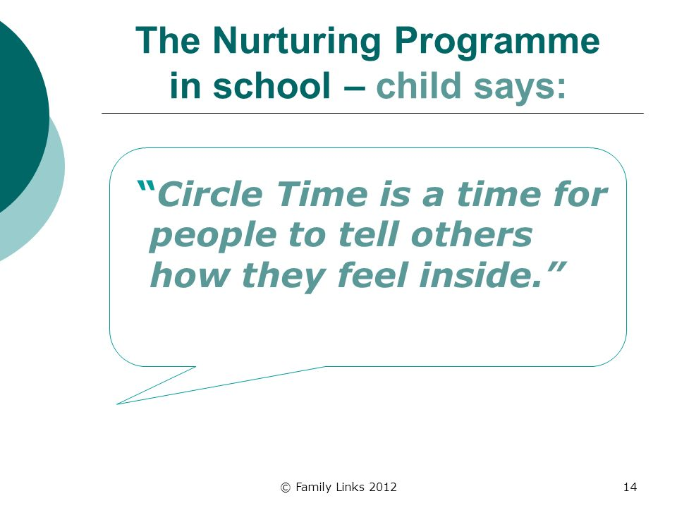 © Family Links 201214 The Nurturing Programme in school – child says: Circle Time is a time for people to tell others how they feel inside.