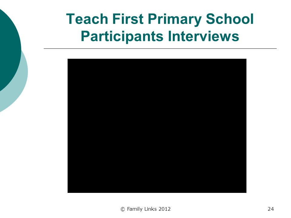 Teach First Primary School Participants Interviews © Family Links 201224