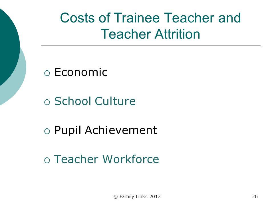 Costs of Trainee Teacher and Teacher Attrition Economic School Culture Pupil Achievement Teacher Workforce © Family Links 201226