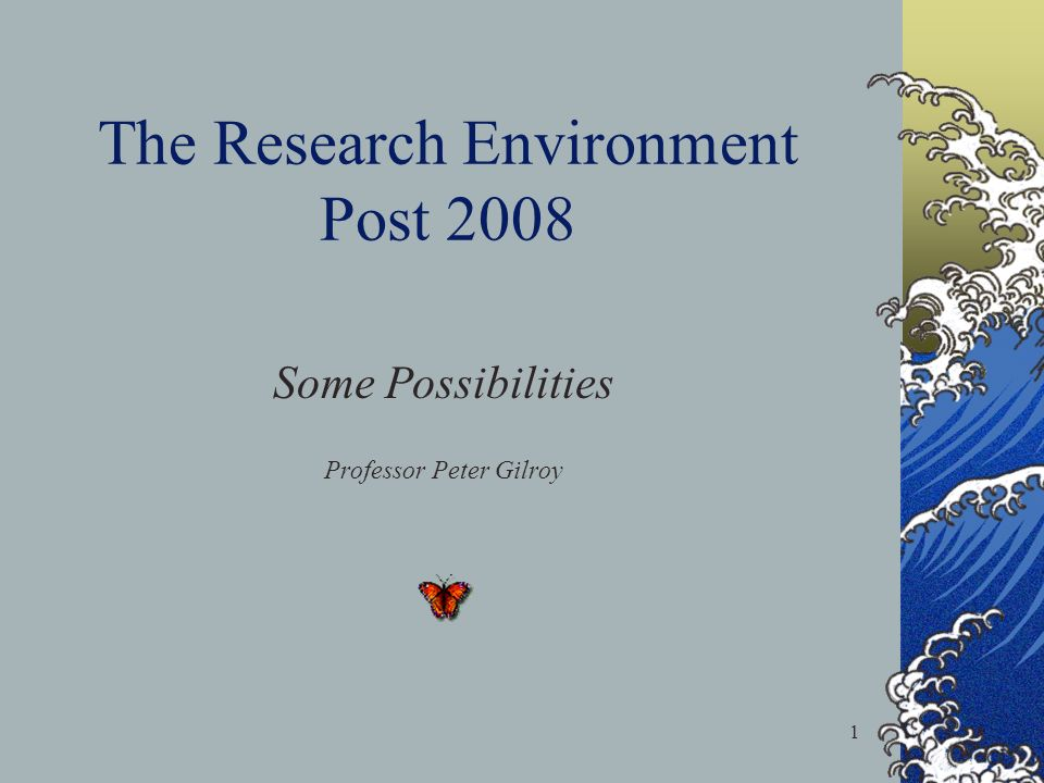 1 The Research Environment Post 2008 Some Possibilities Professor Peter Gilroy