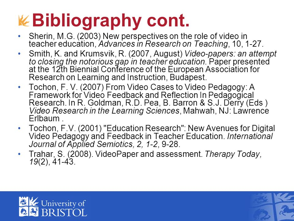 Bibliography cont. Sherin, M.G.