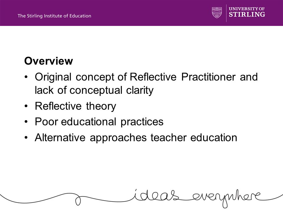 Overview Original concept of Reflective Practitioner and lack of conceptual clarity Reflective theory Poor educational practices Alternative approaches teacher education