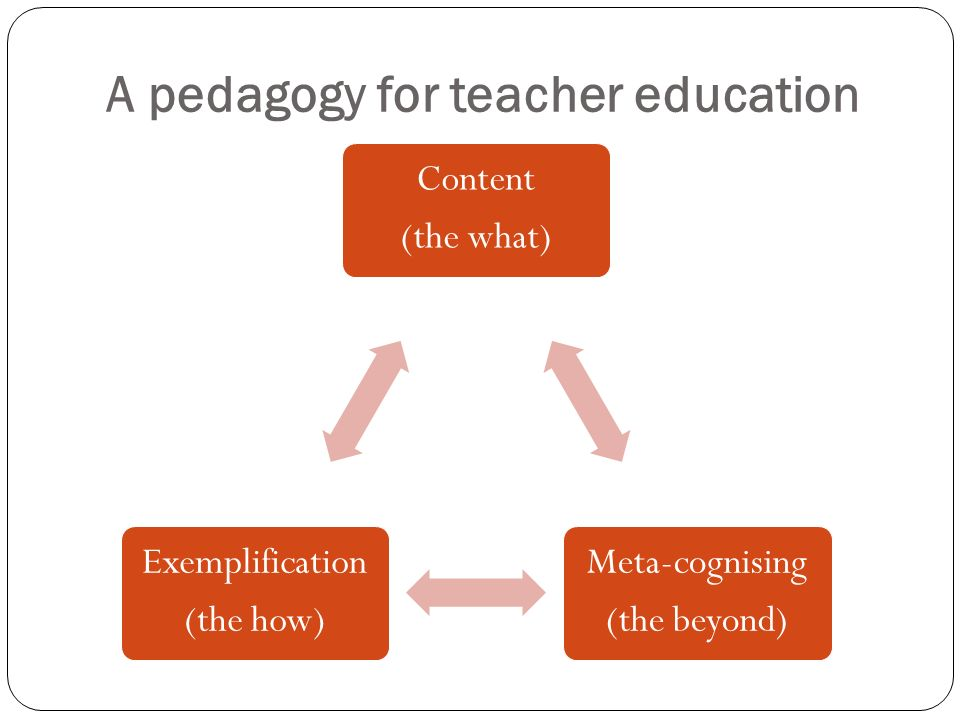 A pedagogy for teacher education Content (the what) Meta-cognising (the beyond) Exemplification (the how)