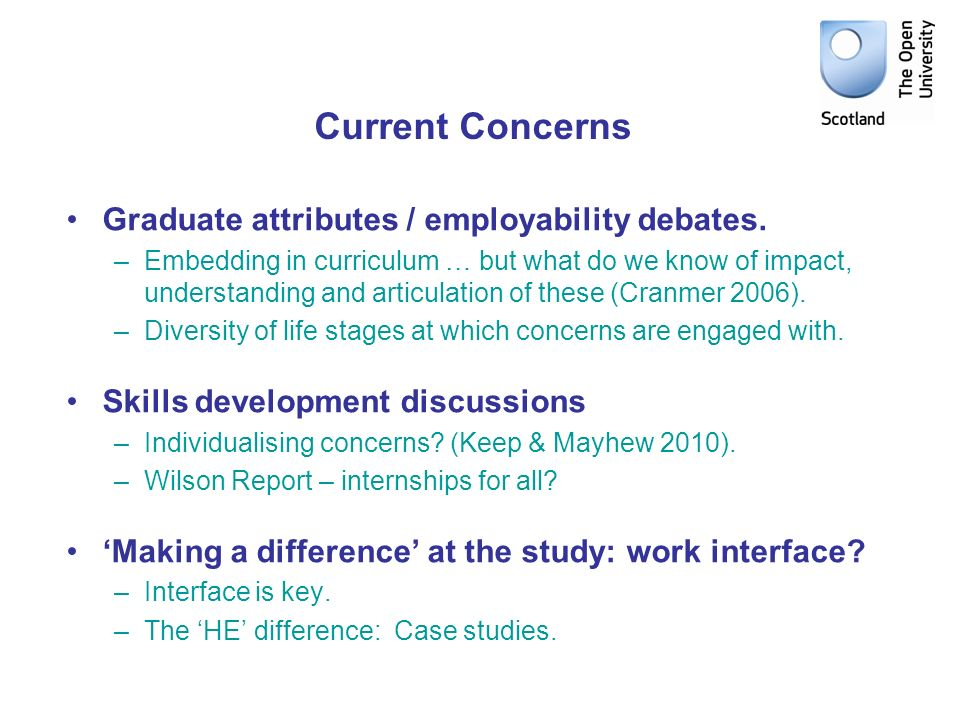 Current Concerns Graduate attributes / employability debates. –Embedding in curriculum … but what do we know of impact, understanding and articulation