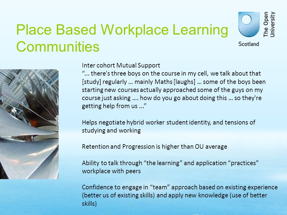 Place Based Workplace Learning Communities Inter cohort Mutual Support...